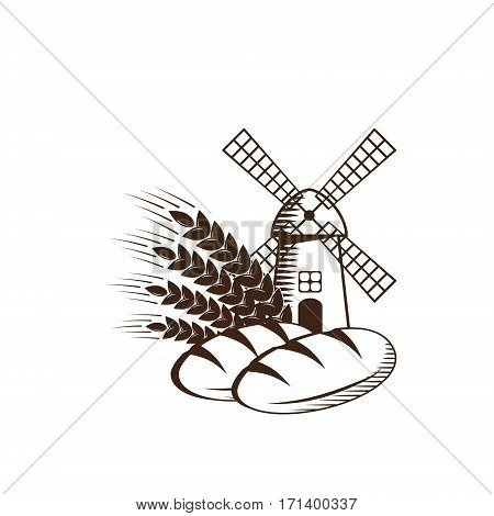 Logo design with two loaf breads windmill in a field and ears of wheat