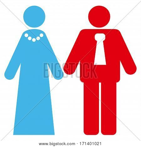 Newlyweds flat icon. Vector bicolor blue and red symbol. Pictogram is isolated on a white background. Trendy flat style illustration for web site design logo ads apps user interface.