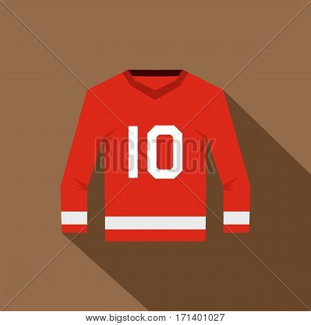Red hockey jersey icon. Flat illustration of hockey jersey vector icon for web isolated on coffee background