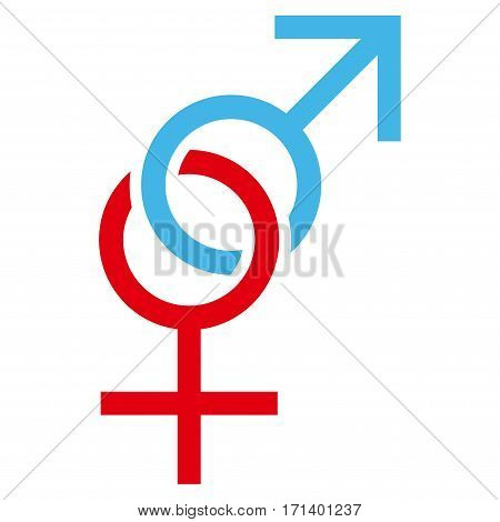 Sex Symbol flat icon. Vector bicolor blue and red symbol. Pictograph is isolated on a white background. Trendy flat style illustration for web site design logo ads apps user interface.
