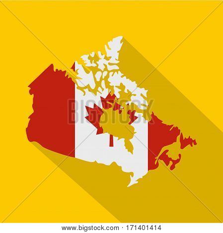 Map of Canada in national flag colors icon. Flat illustration of map of Canada in national flag colors vector icon for web isolated on yellow background