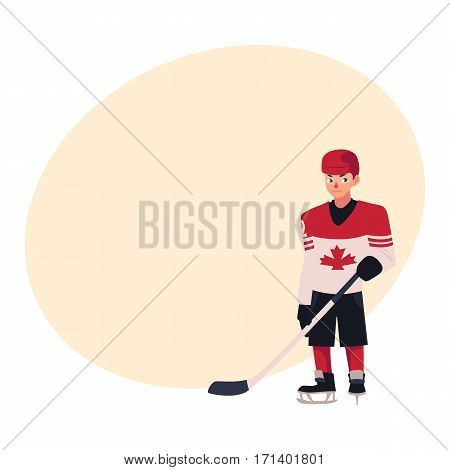 Young hockey player in Canadian uniform with maple leaf standing and holding a stick, cartoon vector illustration with place for text. Full length portrait of Canadian hockey player