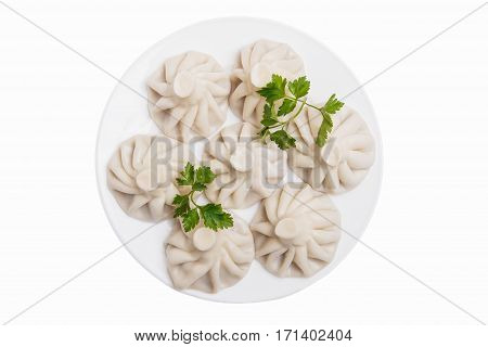 khinkali traditional Georgian dish white background top view isolated