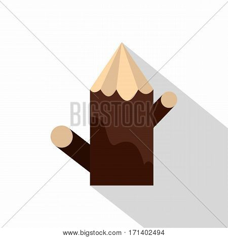 Pointed woden stump icon. Flat illustration of pointed woden stump vector icon for web isolated on white background