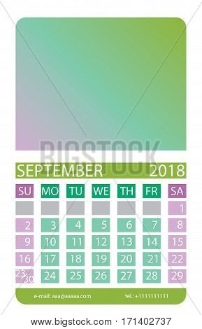 Calendar grid. September. This page wall calendar. In place of the gradient field can be foredeck your image. Eps 10