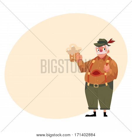 Elder grey haired man in traditional German, Bavarian Oktoberfest costume holding beer mug, cartoon vector illustration with place for text. German, Bavarian man in traditional costume