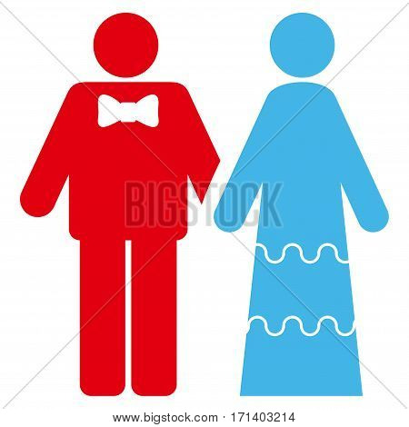 Wedding Persons flat icon. Vector bicolor blue and red symbol. Pictogram is isolated on a white background. Trendy flat style illustration for web site design logo ads apps user interface.