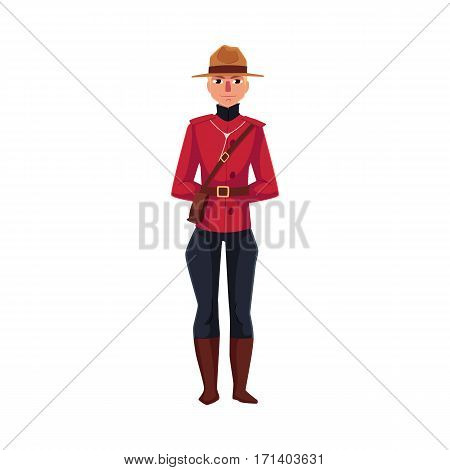 Canadian policeman in traditional uniform - scarlet tunic and breeches, cartoon vector illustration isolated on white background. Full length portrait of young Canadian mounted policemen
