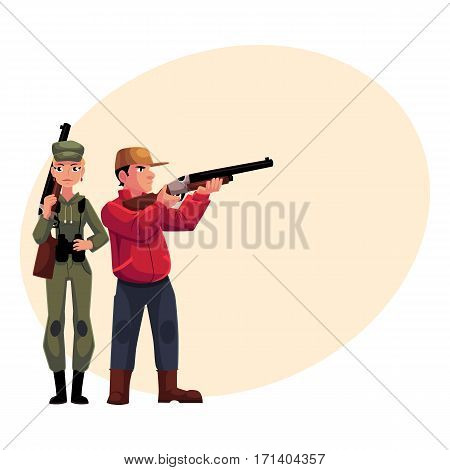 Two hunters, male and female, standing and holding rifles, cartoon vector illustration with place for text. Full length portrait of slim woman hunter in khaki clothing and man in hunting vest