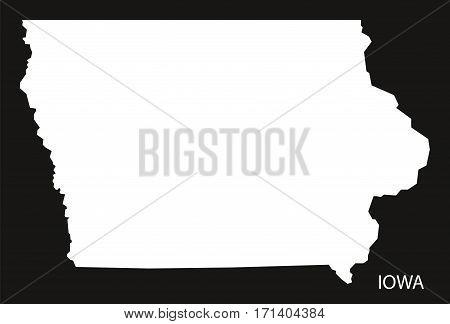 Iowa USA Map black inverted silhouette illustration