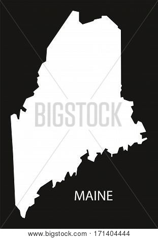Maine USA Map black inverted silhouette illustration