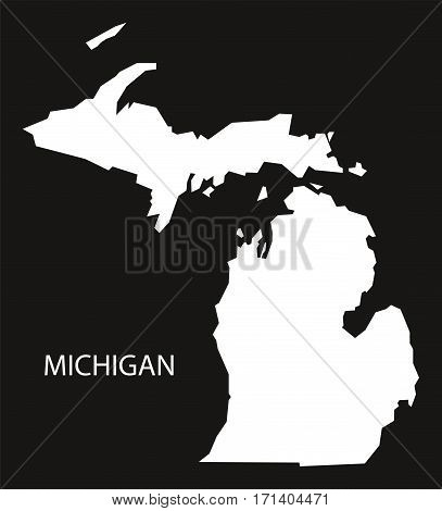 Michigan USA Map black inverted silhouette illustration