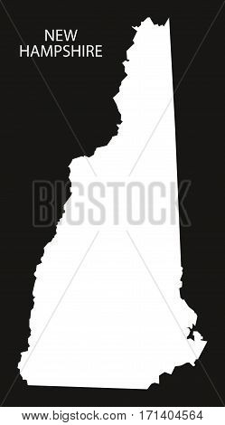 New Hampshire USA Map black inverted silhouette illustration