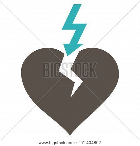 Break Heart flat icon. Vector bicolor grey and cyan symbol. Pictograph is isolated on a white background. Trendy flat style illustration for web site design logo ads apps user interface.
