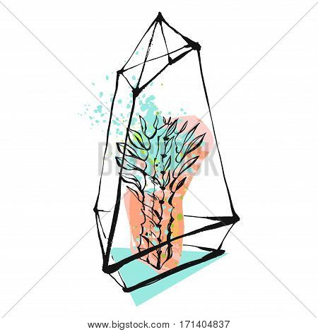 Hand drawn vector abstract graphic illustration with succulent plant in glass rough painted terrarium in pastel and tiffany blue colors isolated on white background.Design for save the datesignlogo