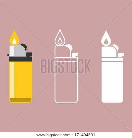 Vector lighter, line lighter icon, flat design