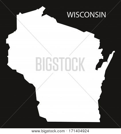 Wisconsin USA Map black inverted silhouette illustration