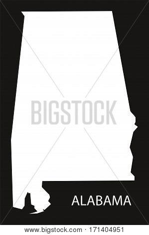 Alabama USA Map black inverted silhouette illustration