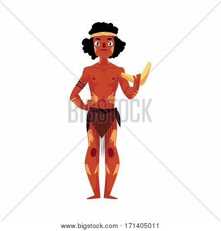 Australian aborigine in loincloth and war paint holding boomerang, cartoon vector illustration isolated on white background. Full length portrait of typical Australian, Tasmanian aborigine