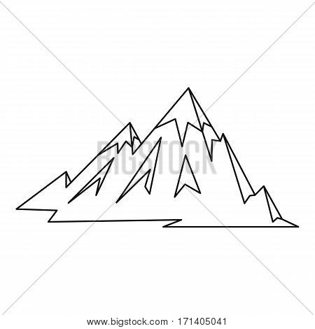 Mountains icon. Outline illustration of mountains vector icon for web