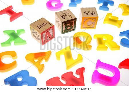 Alphabet blocks over white poster