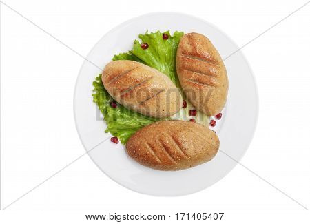 mchadi traditional Georgian dish white background top view isolated