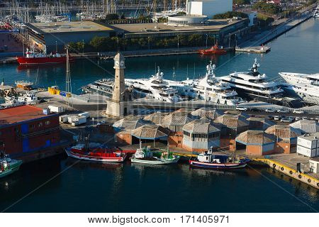 Barcelona Spain - January 07 2017: Ships in the port of Barcelona view from above