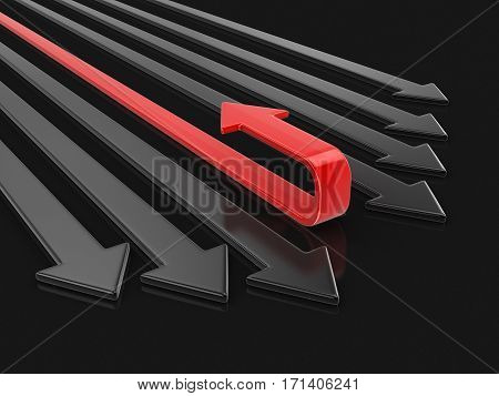3D Illustration. 3d Arrows back. Image with clipping path
