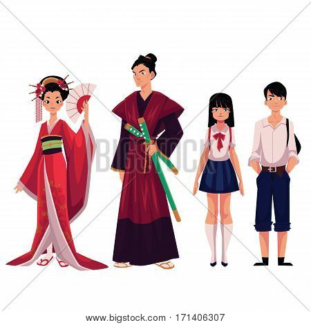 Japanese people - geisha and samurai in historical costumes, typical school girl, boy, cartoon vector illustration isolated on white background. Japanese geisha, samurai, schoolgirl, schoolboy poster