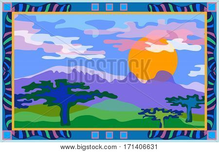 Valley with mountains and cloudy sky. Panoramic view.