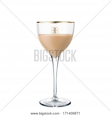 classic alcohol cocktail Baileys isolated on white background