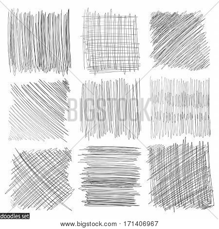 Doodles Set Scribble Sketch Hand Drawn Scrawl Collection 3