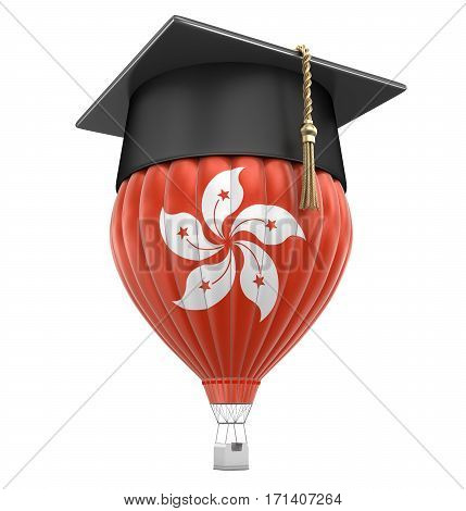 3D Illustration. Hot Air Balloon with Hong Kong Flag and Graduation cap. Image with clipping path