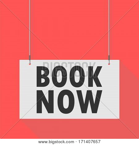 Hanging Sign book now on red background