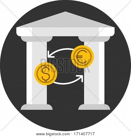 Money transfer. Vector icon in flat style