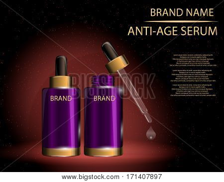 Collagen Premium Serum container template with dropper glossy bottles on the sparkling effects background. Mockup 3D Realistic Vector illustration for design template