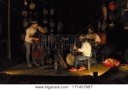 Calci Italy - July 30 2016: Trio of musicians playing jazz