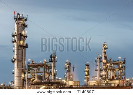Oil Refinery factory petrochemical plant Petroleum at dark