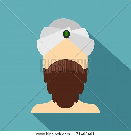 Man with beard and mustache wearing turban icon. Flat illustration of man with beard and mustache wearing turban vector icon for web isolated on baby blue background