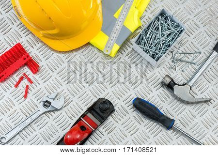 Diy Tools Set On Metal Tread Plate With Copy Space