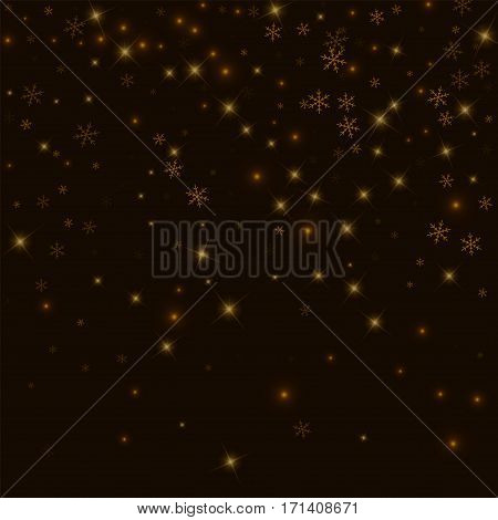 Sparse Starry Snow. Top Gradient On Black Background. Vector Illustration.