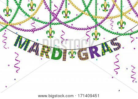 Mardi gras greetings with beads and confetti isolated on white