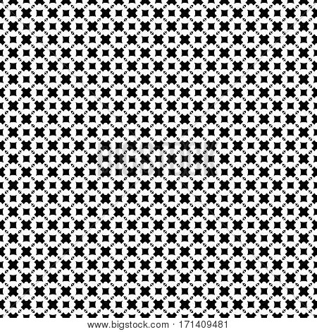 Vector seamless pattern, abstract monochrome geometric background. Simple black & white figures, crosses, triangles, rhombuses, squares. Repeat tiles. Design element for decoration, fabric, print, wrapping, textile, furniture, clothes