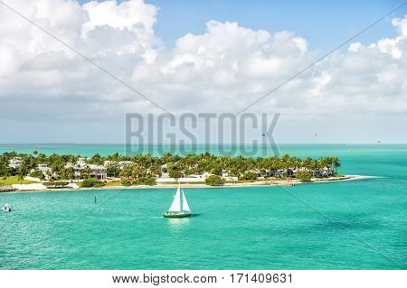 Touristic Yacht Floating By Green Island At Key West, Florida