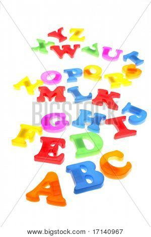 Alphabet letters over white
