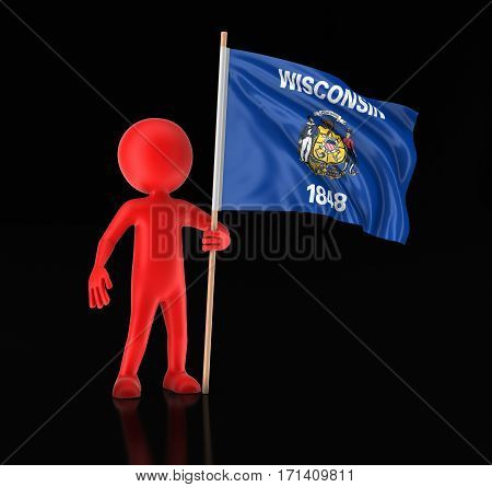 3D Illustration. Man and flag of the US state of Wisconsin. Image with clipping path