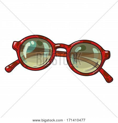 Fashionable round sunglasses in red plastic frame, summer vacation attribute, sketch vector illustration isolated on white background.