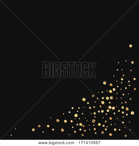 Sparse Gold Confetti. Bottom Right Corner On Black Background. Vector Illustration.