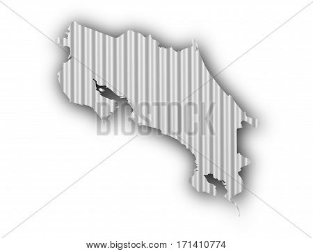 Map Of Costa Rica On Corrugated Iron
