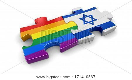 3D Illustration. Israel and LGBT puzzle from flags. Image with clipping path